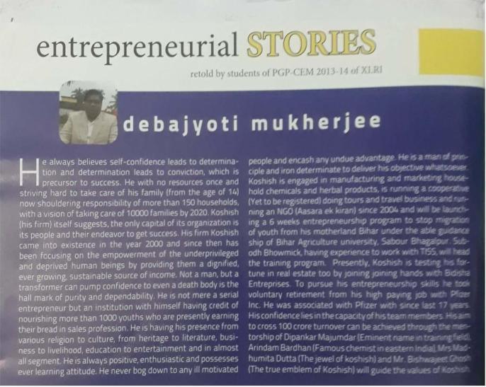 XLRI's opinion on Dr. Debajyoti Mukherjee published in Verge, the XLRI EDC magazine.